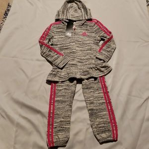 Adidas girls tracksuit 2 piece set outfit
